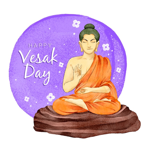 Celebrazione felice giorno di vesak dell'acquerello Vettore gratuito