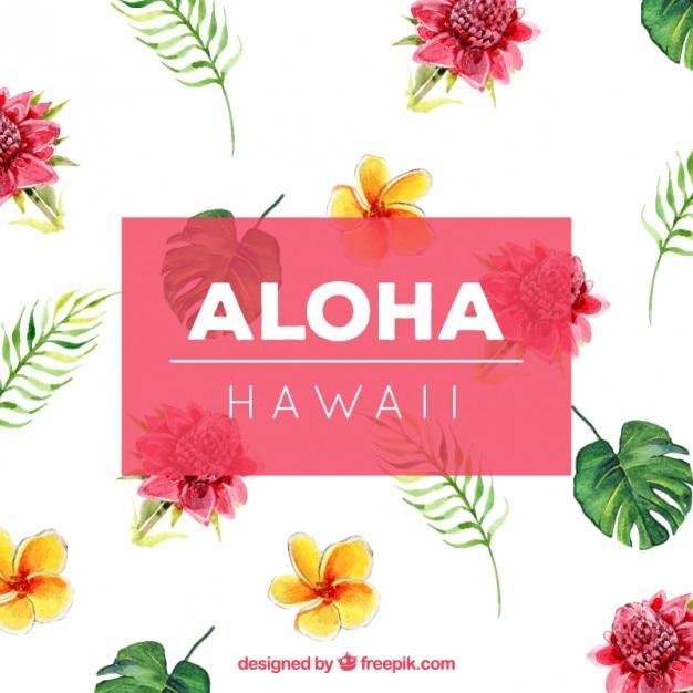 Watercolor Hawaiian Flowers Background Free Vector
