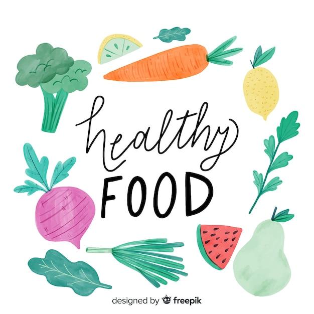 Watercolor healthy food background Free Vector