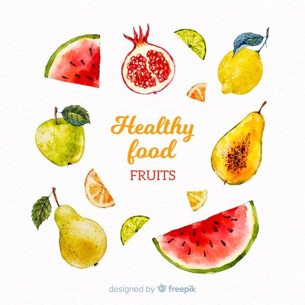 Watercolor healthy food pack Free Vector