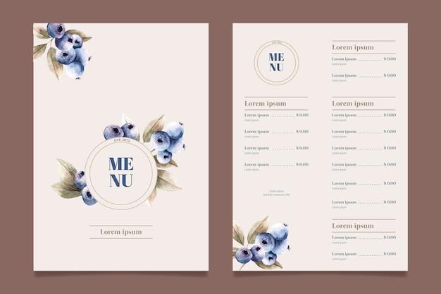 Modello di menu del ristorante di cibo sano dell'acquerello Vettore gratuito