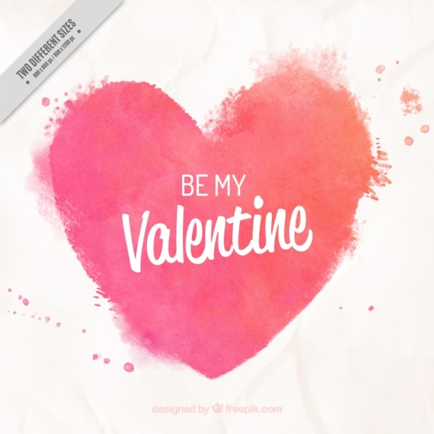 Watercolor heart background with phrase Free Vector
