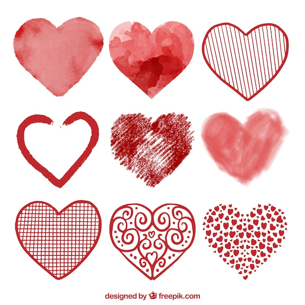 Watercolor heart collection Free Vector