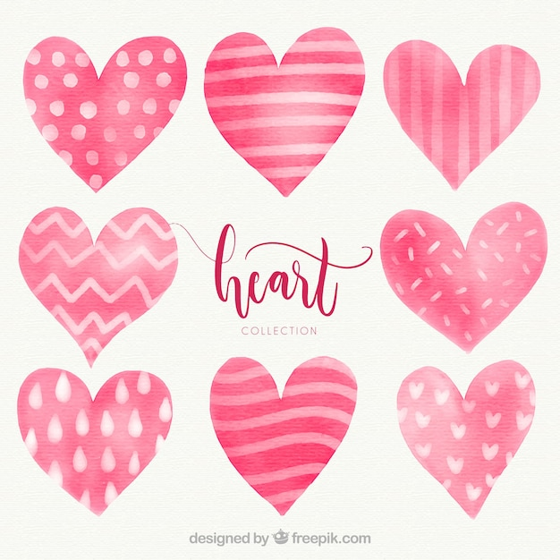 Watercolor heart collection Vector | Free Download