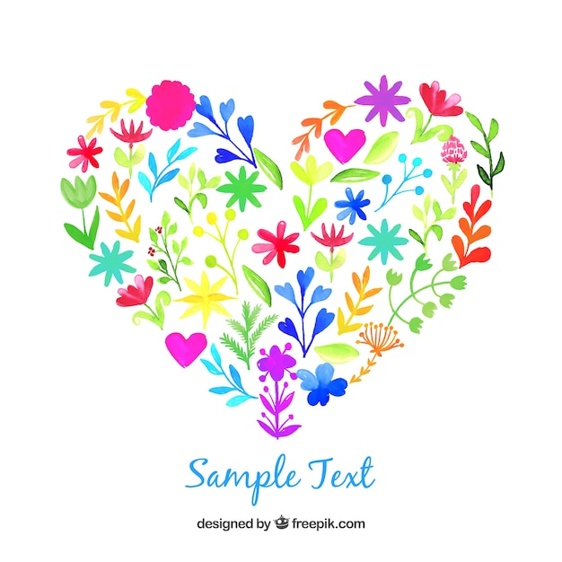 Watercolor heart made of flowers Free Vector