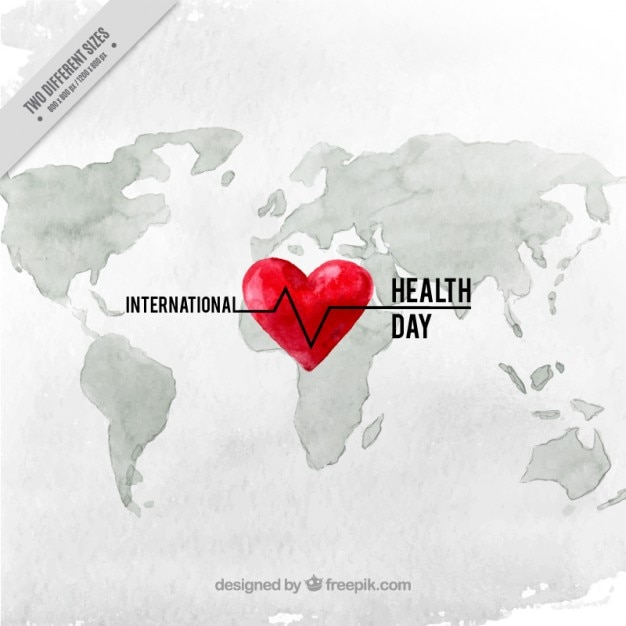 Watercolor heart on a map background