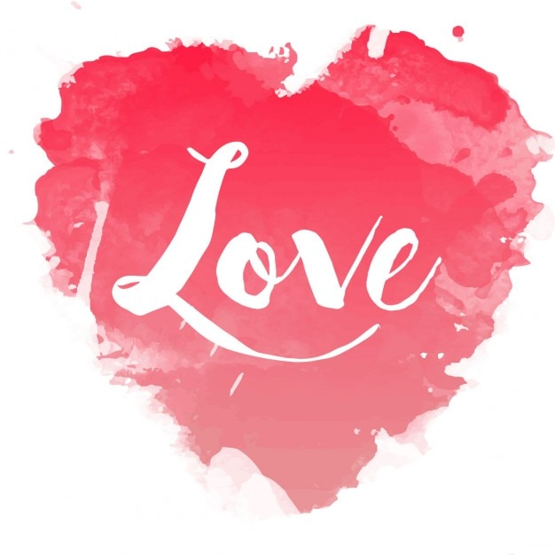 Watercolor heart with calligraphy vector free download