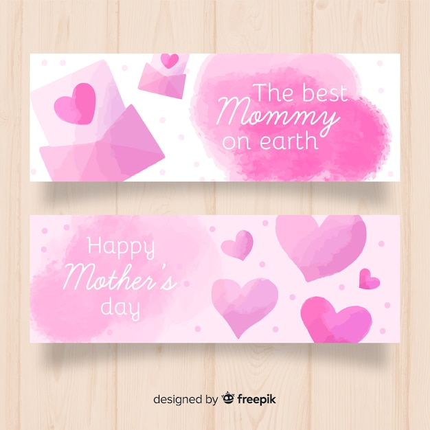 Watercolor hearts mother's day banner Free Vector