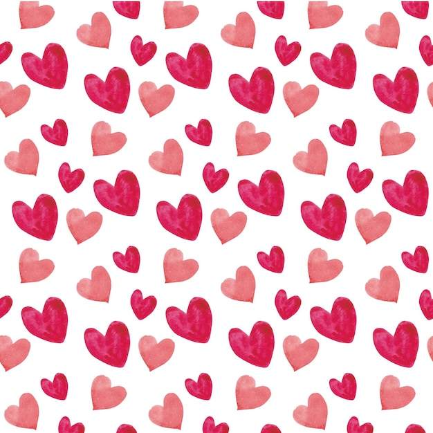 Watercolor hearts seamless pattern Free Vector