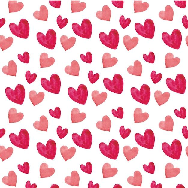 Бесшовный фон акварель сердца Бесплатные векторы