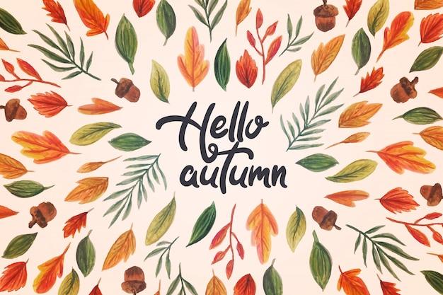 Watercolor hello autumn lettering Free Vector