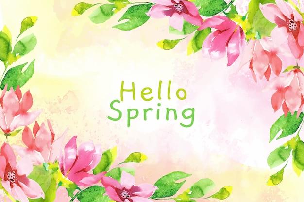 水彩こんにちは春の壁紙 無料ベクター