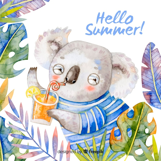 Watercolor hello summer background Free Vector