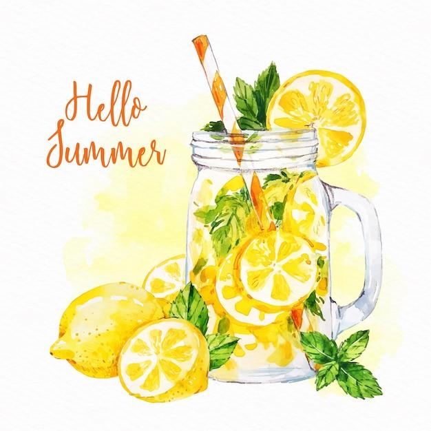 Акварель привет лето концепция Бесплатные векторы