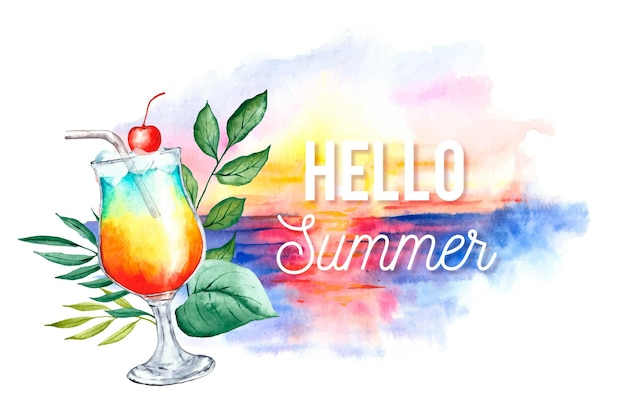 Watercolor hello summer with beach and cocktail Free Vector