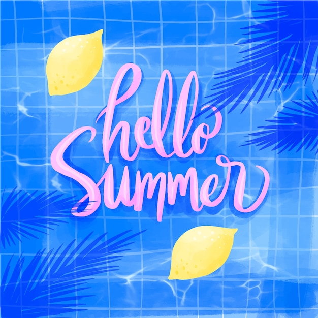 Watercolor hello summer with lemons Free Vector