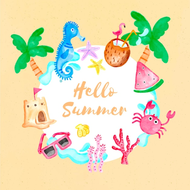 Watercolor hello summer with palm trees and watermelon Free Vector