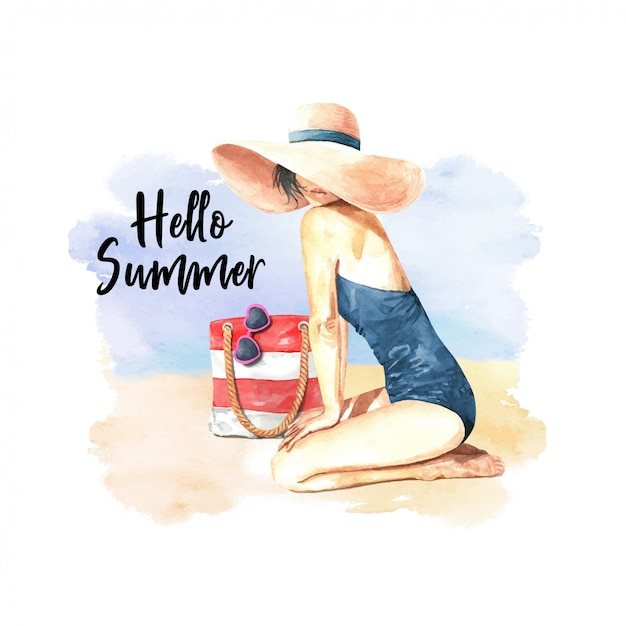 Watercolor hello summer women on beach Premium Vector