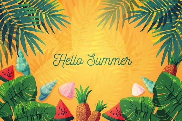 水彩こんにちは夏 無料ベクター