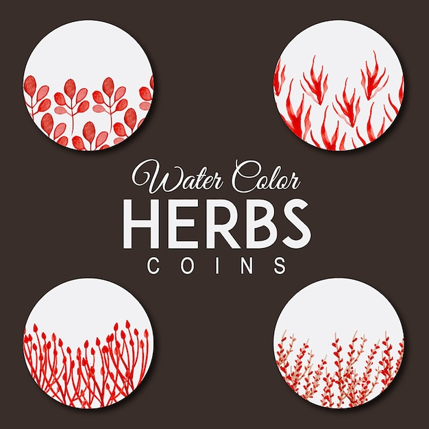 Watercolor Herbs Patterns Free Vector