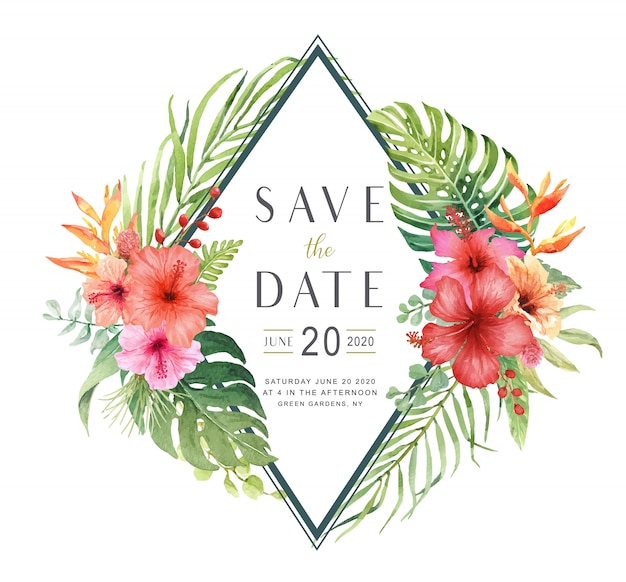 Watercolor Hibiscus Flower Bouquet Save The Date Card Vector