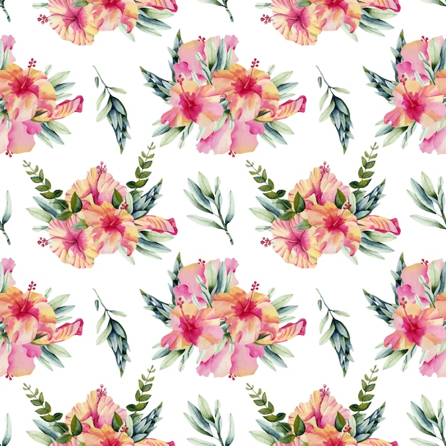 Watercolor hibiscus flowers bouquets seamless pattern Premium Vector