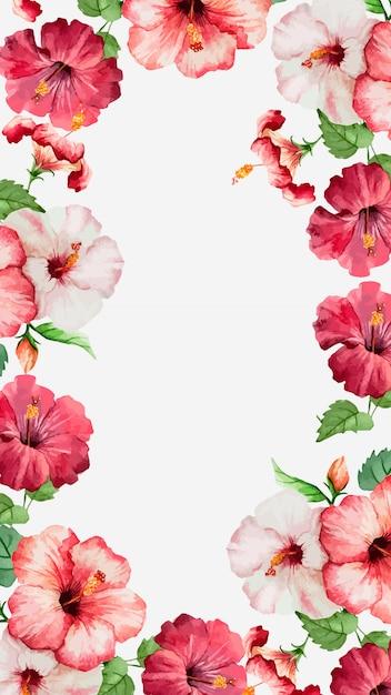 Watercolor hibiscus mobile wallpaper Free Vector