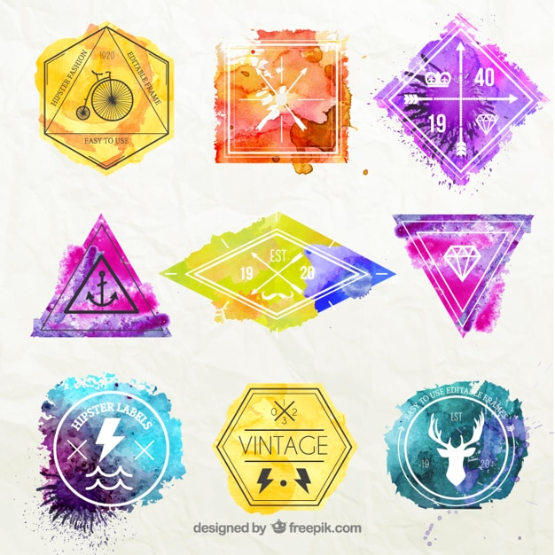 Watercolor hipster badges Free Vector