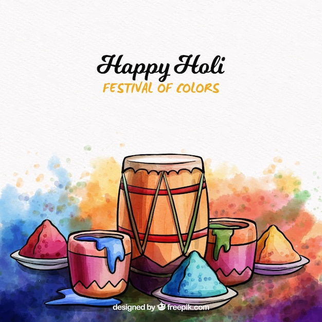 Watercolor holi background Free Vector