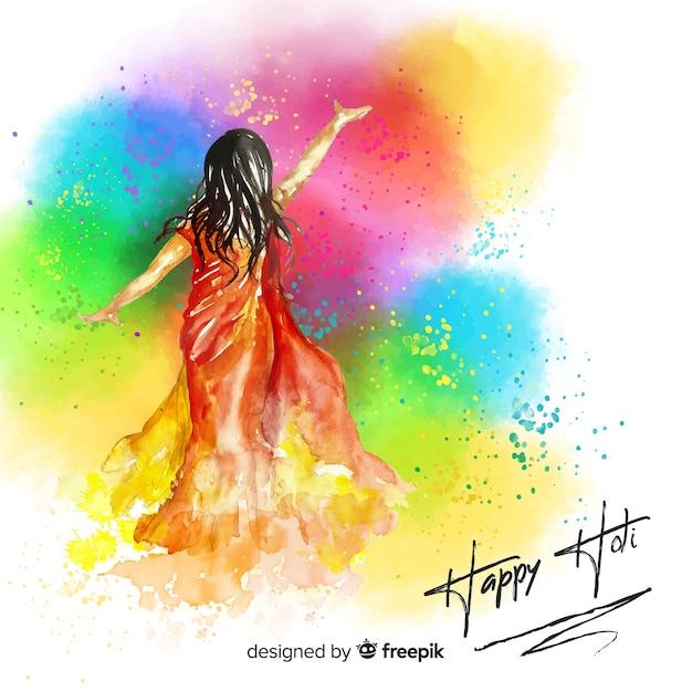 Watercolor holi festival background Free Vector