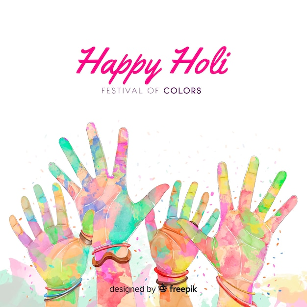 Watercolor holi festival background Free Vector