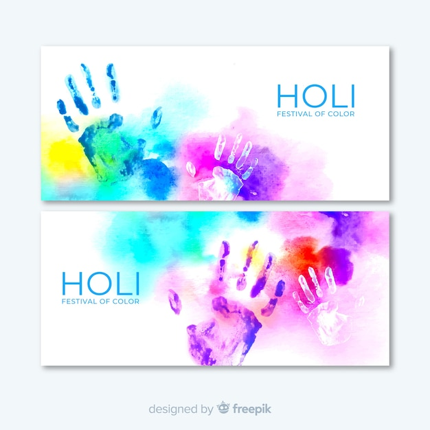 Watercolor holi festival banner Free Vector
