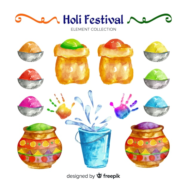 Watercolor holi festival element collection Free Vector