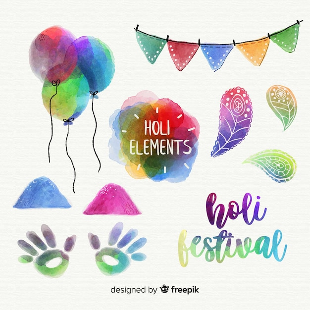 Watercolor holi festival elements pack Free Vector