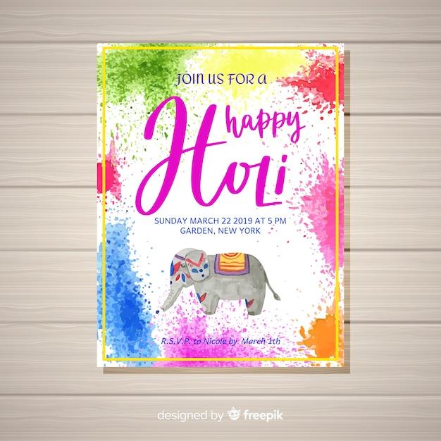 Watercolor holi festival flyer template Free Vector