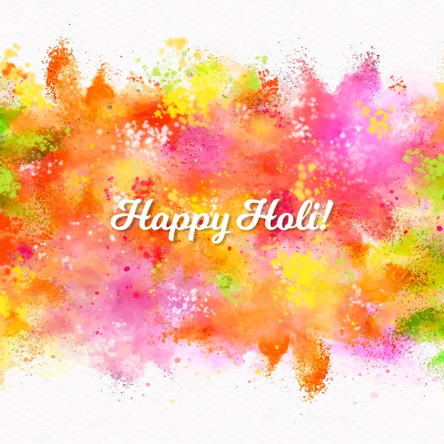 Watercolor holi festival with lettering Free Vector