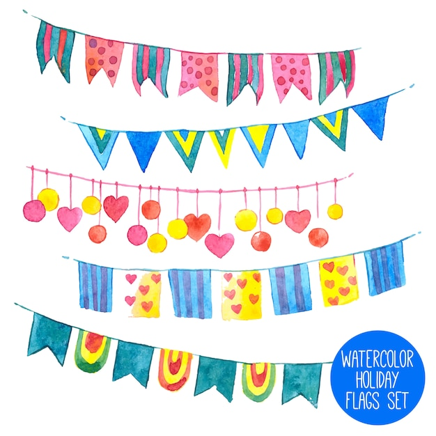 Watercolor holiday garlands set Free Vector
