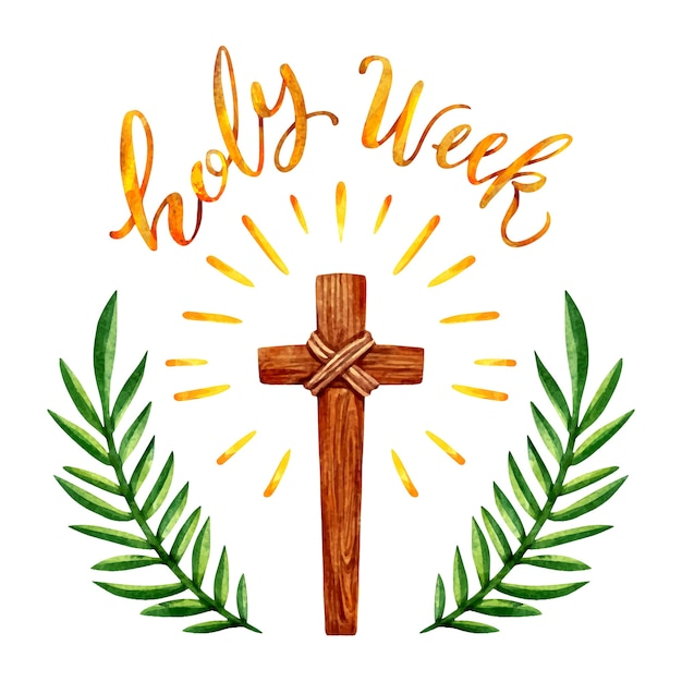 Watercolor holy week with wooden cross Free Vector