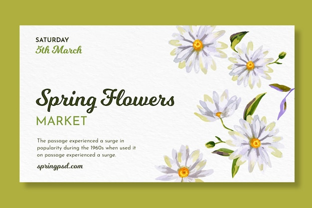 Акварель горизонтальный баннер для весны с цветами Бесплатные векторы