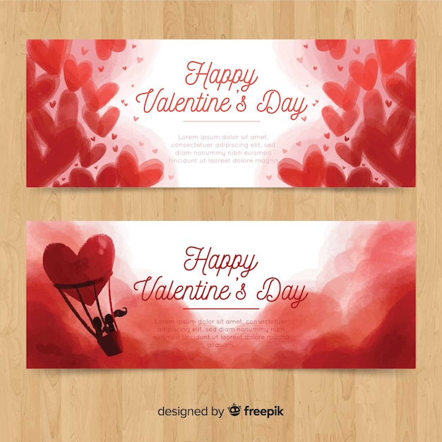 Watercolor hot air balloon valentine banner Free Vector