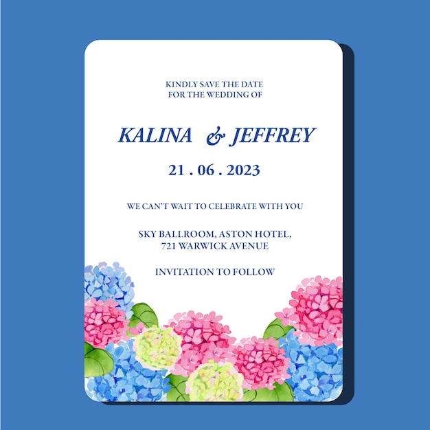 Watercolor hydrangea border wedding invitation card template Premium Vector