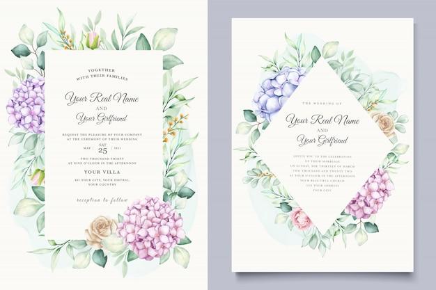 Watercolor hydrangea wedding invitation card template Free Vector