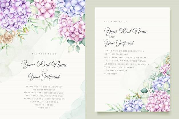 水彩のアジサイの結婚式の招待カードテンプレート 無料ベクター