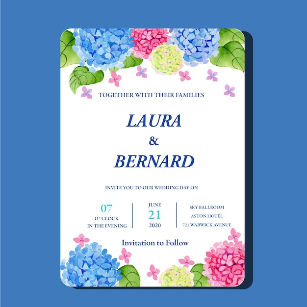 Watercolor hydrangeas hortensia flower invitation card classic template Premium Vector