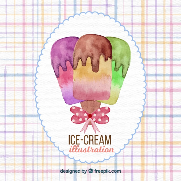Watercolor ice cream background Free Vector