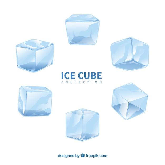 수채화 아이스 큐브 컬렉션 무료 벡터