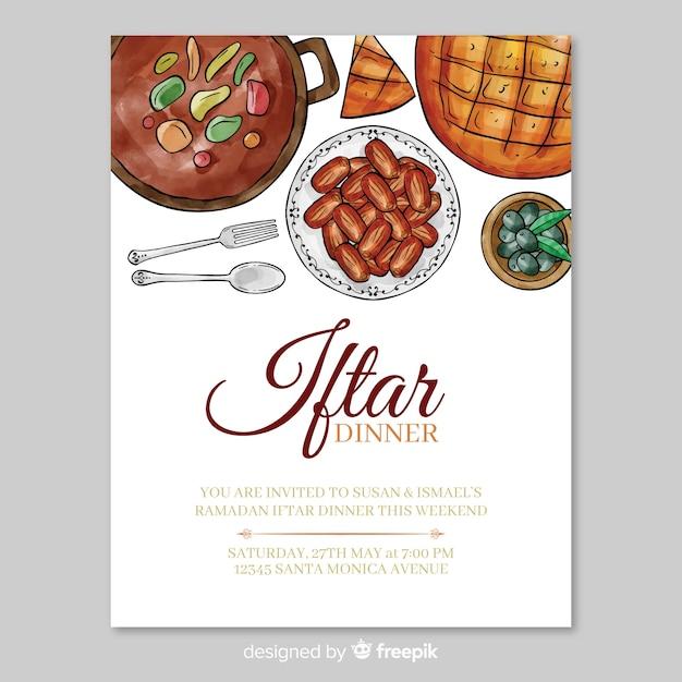 Watercolor iftar invitation template Free Vector