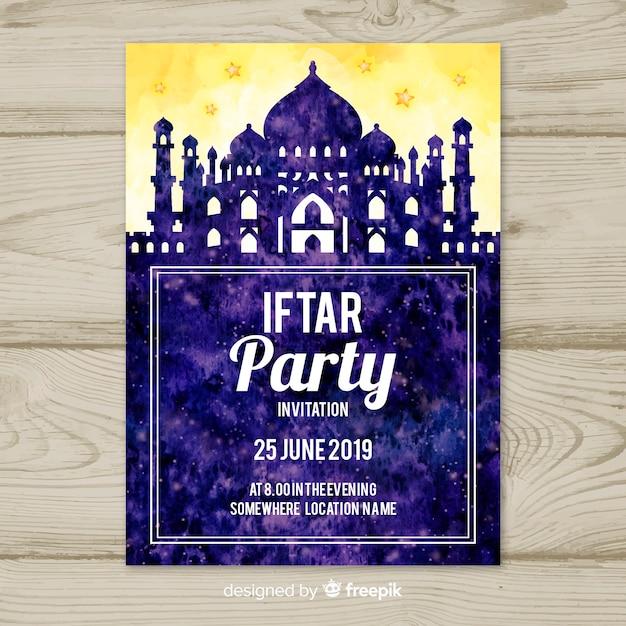 Watercolor iftar invitation Free Vector