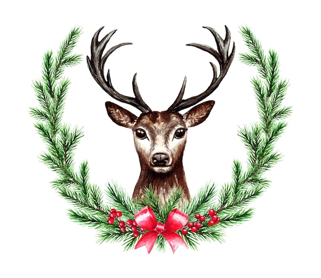 Watercolor illustration of christmas wreath with deer. merry christmas and happy new year. Premium Vector