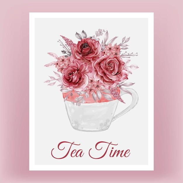花の花束と水彩イラストカップ 無料ベクター